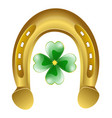horseshoe and four leaf clover - lucky symbol vector image