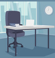 interior of morning workplace with view of city vector image vector image
