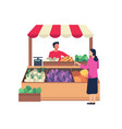 local market sell vegetables and fruit vector image vector image