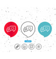 message speech bubbles with smile line icon vector image vector image