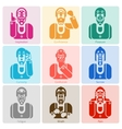 Monochrome emotion icons set vector image vector image