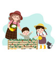mother and her kids looking at strawberries vector image