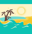 ocean waves and tropical island with palms poster vector image vector image