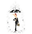 papers fall down on the man with a bag and umbrell vector image vector image