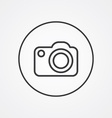 photo camera outline symbol dark on white vector image vector image