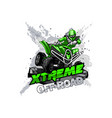 quad bike off-road atv logo extreme off-road vector image vector image