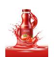 realistic tomato juice glass bottle splash vector image vector image