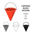 red metal fire bucket icon cartoon single vector image vector image