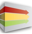 Red yellow and green arrows in perspective on wall vector image vector image