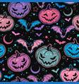 seamless pattern of bright halloween pumpkins vector image