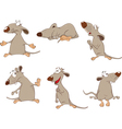 Set of Cartoon Cute Rats vector image
