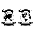 set of globe and dog vector image vector image