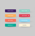 set of modern flat app or game buttons trendy vector image vector image