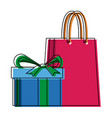 shopping gift box paper bag market commerce vector image vector image
