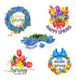 spring flowers icons for holiday greeting vector image vector image