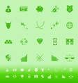 Stock market color icons on green background vector image