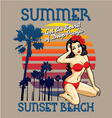 sunset beach vector image