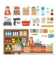Supermarket Decorative Elements Set vector image