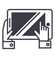 Tablet in hands line icon sign
