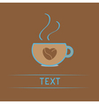 Teacup with coffee seeds heart Love card vector image vector image