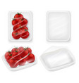 tomatoes tray package realistic mockup set vector image