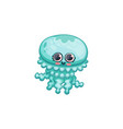 underwater cute cartoon jellyfish in kawaii style vector image