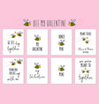 valentines day cards with cute bee and quotes vector image vector image