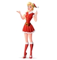 woman in red Christmas Santa outfit showing vector image
