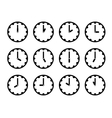 Set of clock faces simple black icons for every vector image
