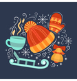 Concept with symbols of winter vector image