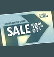 sale discount banner poster design with arrow sign vector image