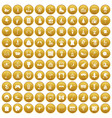100 amusement icons set gold vector image vector image