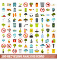 100 recycling analysis icons set flat style vector image vector image