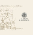 alchemy background with vintage sketches and notes vector image vector image