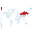 blue world map with magnifying on russia vector image vector image