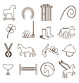 brown simple horse theme outline icons set eps10 vector image vector image