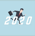 businessman running to success 2020 vector image vector image