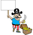 cartoon pirate holding a sign vector image vector image
