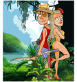 cartoon tourist couple man and woman vector image