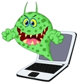 Cartoon Virus on laptop vector image vector image