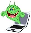 Cartoon Virus on laptop vector image