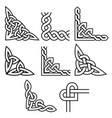 celtic corners design set irish patterns vector image vector image