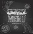 chalk drawing typography coffee menu design vector image