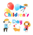 childrens day holiday card with text and children vector image
