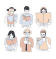 collection of portraits of men and women reading vector image vector image