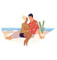 couple in love spending romantic weekends sea vector image
