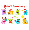 cute christmas monsters vector image vector image