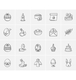 Easter sketch icon set vector image vector image