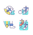 extreme water sport rgb color icons set vector image