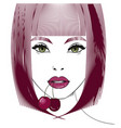 female portrait with cherry vector image vector image